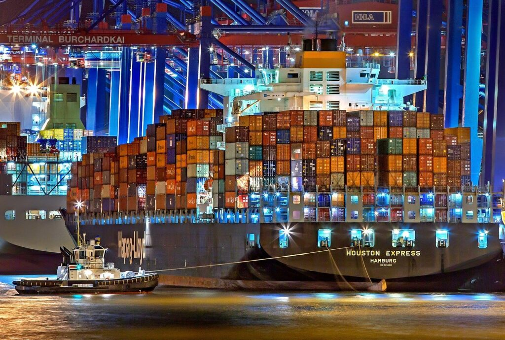 hamburg, port of hamburg, container ship